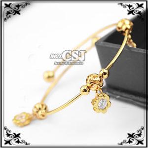 Vòng tay nữ inox mạ vàng hình hoa mai