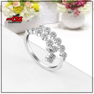 nhẫn nữ inox đính xoàn kiểu chéo rất xinh