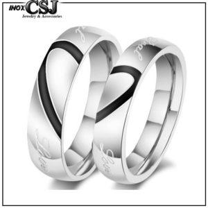 CSJ chuyên bán bỏ sỉ Nhẫn cặp inox, nhẫn đôi inox trái tim ghép đẹp giá rẻ không đen HCM hà nội