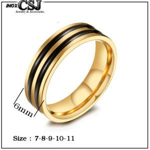 Nhẫn nam inox mạ vàng 2 sọc đen bảng 6ly, nhẫn inox nam thời trang Hàn Quốc đẹp giá rẻ không đen