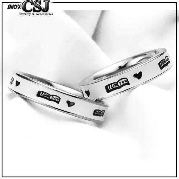 CSJ chuyên bán các mẫu nhẫn cặp inox i love you, nhẫn đôi i love you bằng inox cao cấp, trang sức cặp đôi inox.