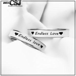 CSJ- Trang sức cặp đôi inox cao cấp, nhẫn cặp endlles love inox sơn trắng, nhẫn đôi inox endlles love đẹp ý nghĩa