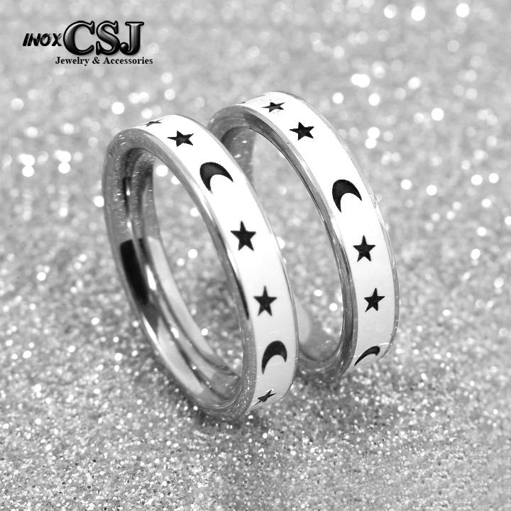 trang sức inox cặp đôi Công Sang, nhấn cặp trắng sao inox sơn trắng, nhẫn cặp inox cao cấp trăng sao đẹp ý nghĩa