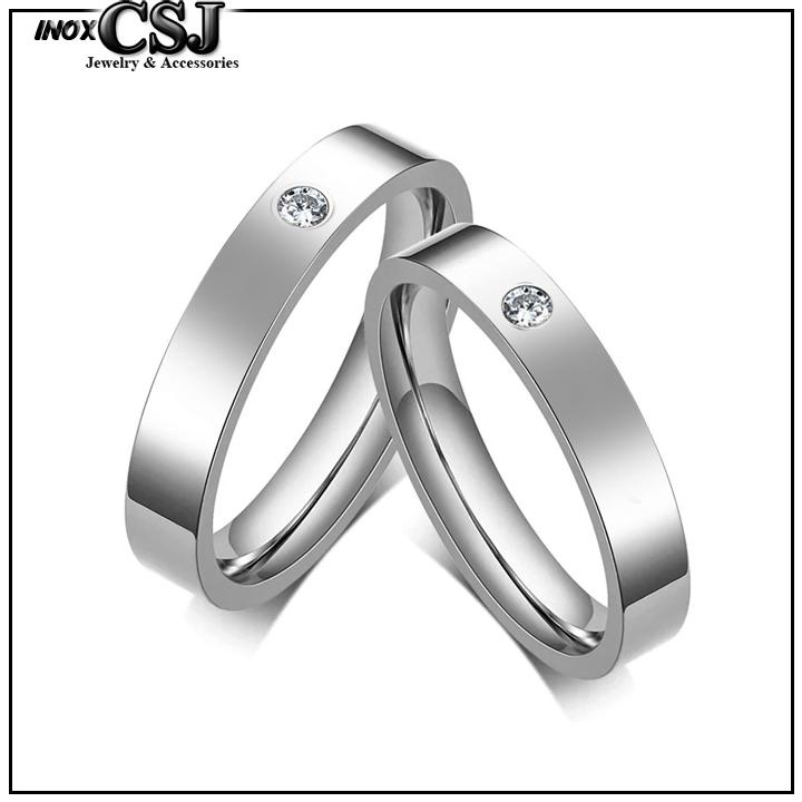 nhẫn cặp inox trơn đính hột, CSJ nơi bán nhẫn đôi inox đẹp ý nghĩa giá rẻ không đen