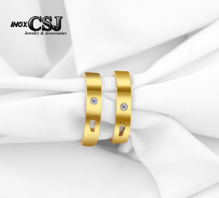 Nhẫn đôi hình bán chân, nhẫn cặp mạ vàng bàn chân rổng, nhẫn đôi inox hình bàn chân mạ vàng đẹp cao cấp