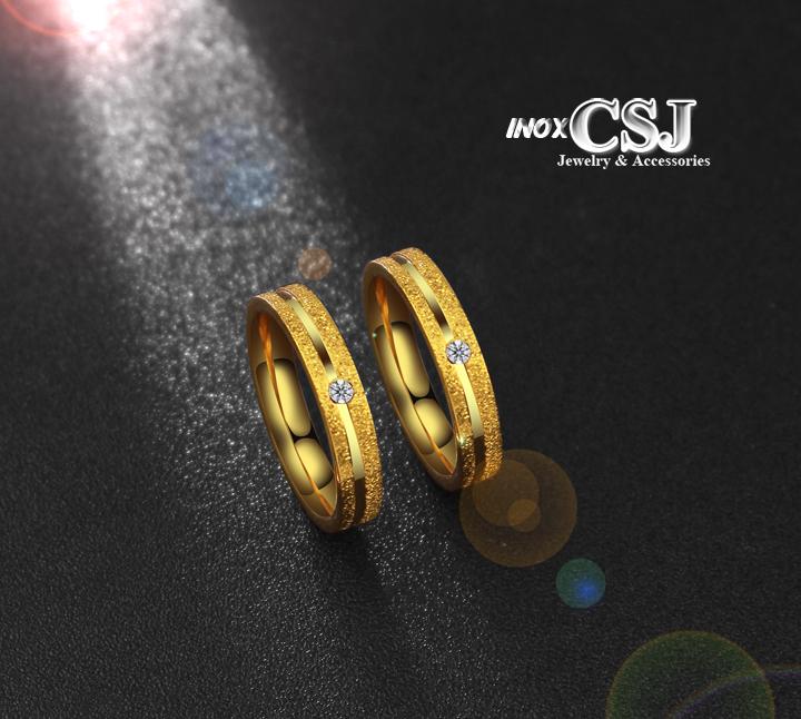 Nhẫn cặp inox mạ vàng phun cát 2 hàng, nhẫn đôi tình nhẫn mạ vàng đẹp giá rẻ không đen