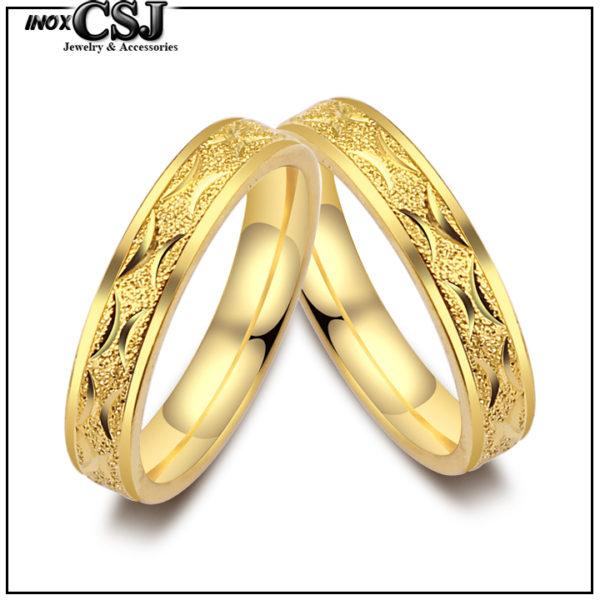 Nhẫn đôi inox mạ vàng phun cát, nhẫn cặp inox cao cấp đẹp giá rẻ