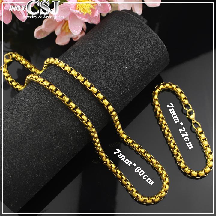 Bộ trang sức nam mạ vàng, set trang sức nam dây chuyền và lắc tay xi vàng cao cấp