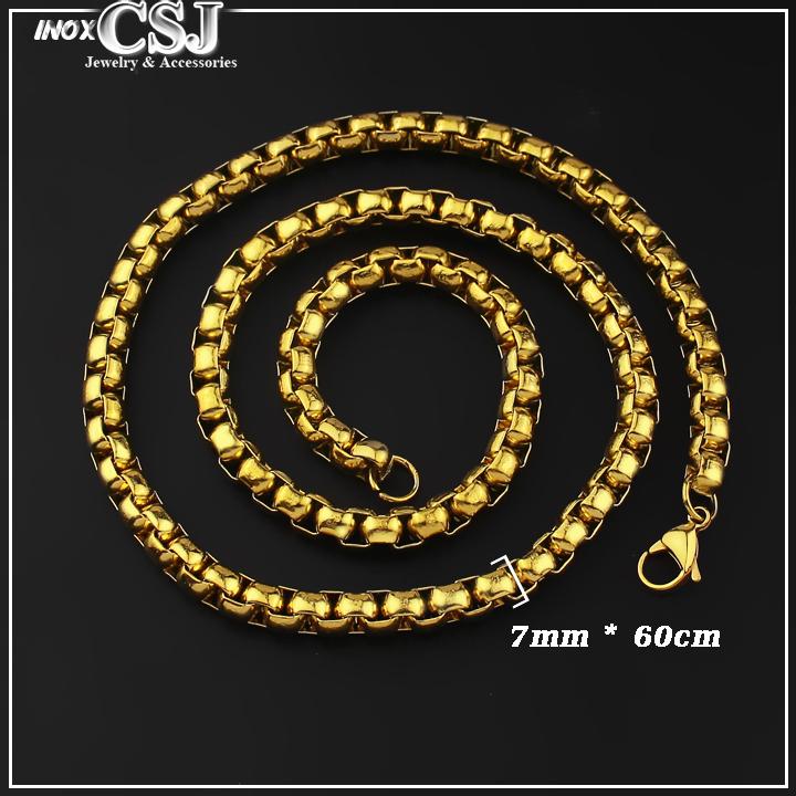 Dây chuyền nam inox mạ vàng, vòng cổ nam inox thời trang Hàn Quốc xi vàng cao cấp