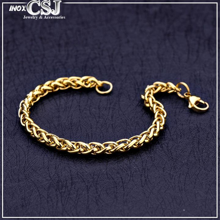 Lắc tay nam inox mạ vàng, vồng tay nam inox xi vàng cao cấp , trang sức inox nam thời trang Hàn Quốc