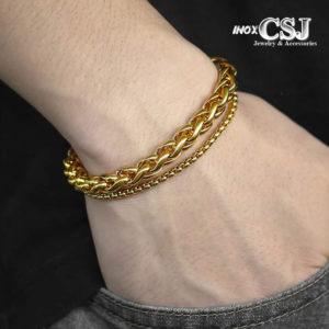 Lắc tay nam hàn quốc màu vàng, vòng tay nam thời trang HQ mạ vàng đẹp độc cá tính