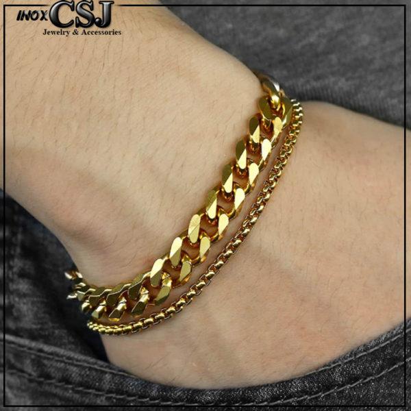 lắc tay nam mạ vàng, vòng tay inox nam thời trang Hàn Quốc mạ vàng cao cấp đẹp giá rẻ