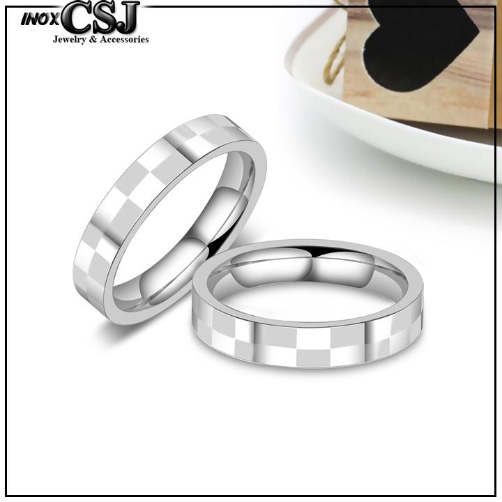 nhẫn đôi inox caro, nhẫn cặp inox cao cấp họa tiết caro, nhẫn cặp tình nhân caro