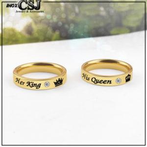 Nhẫn cặp đôi inox her king his queen, nhẫn tình nhẫn vua hoàng hậu mạ vàng