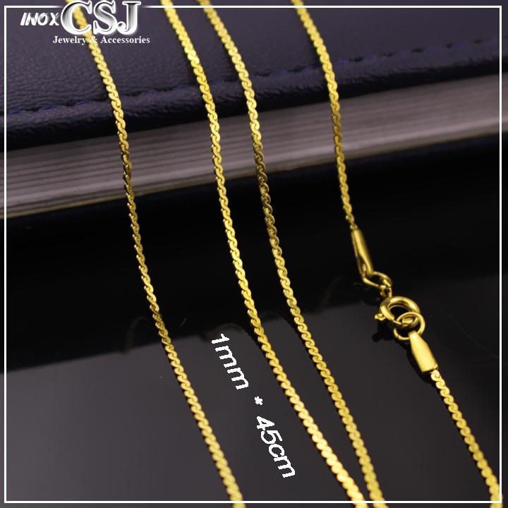 Vòng cổ nữ mạ vàng inox cao cấp loại nhỏ 1mm