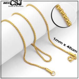 Dây chuyền nữ inox mạ vàng cỡ nhỏ, vòng cổ nữ mạ vàng inox cao cấp sợi nhí 1mm không đen giá rẻ