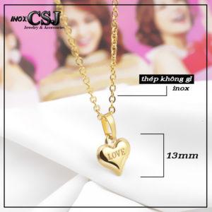 Dây chuyền trái tim mạ vàng, vòng cổ nữ trái tim inox cao cấp giá rẻ HCM