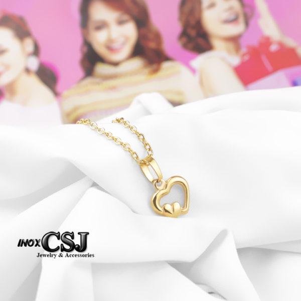 Dây chuyền , vòng cổ inox hình trái tim mạ vàng đẹp giá rẻ không đen