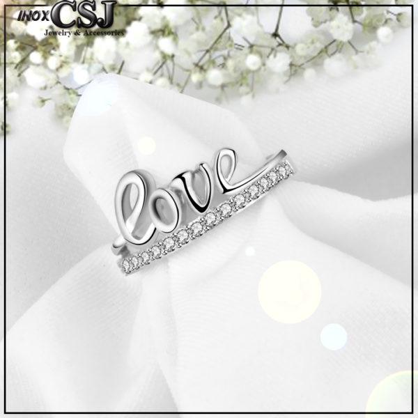 Nhẫn nữ inox chữ love, nhẫn chữ love inox cao cấp