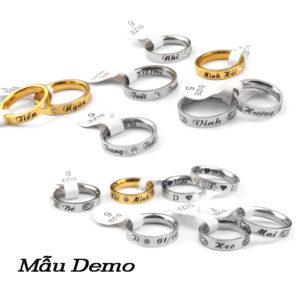 Công sang chuyên nhẫn khắc lazer lên nhẫn cặp đôi, nhẫn tình nhân bằng inox cao cấp, khắc tên lên nhẫn giá tốt nhất tại HCM
