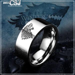 Nhẫn inox khắc sói viking , nhẫn cho sói inox bảng to 8ly