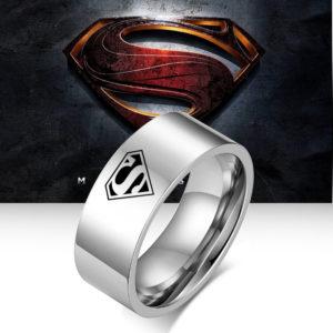 Nhẫn superman, nhẫn inox khắc hình superman bảng to 8ly