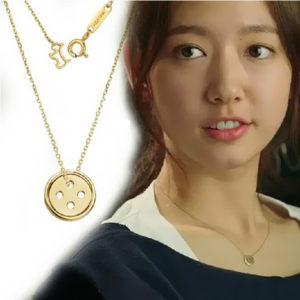 Dây chuyền hình nút áo titan, vòng cổ titan Hàn Quốc