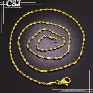 dây chuyền nữ inox mạ vàng kiểu xoắn