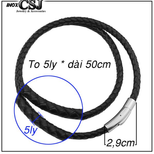 dây chuyền đen 5ly bằng da cao cấp khóa inox