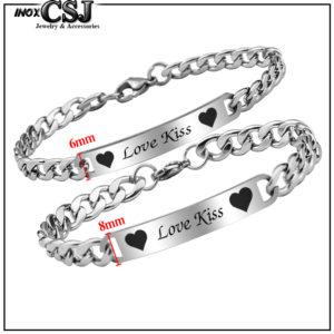 lắc vòng tay cặp đôi inox love kiss đẹp ý nghĩa giá rẻ