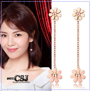 Bông tai titan HQ hoa cúc cách điệu tòn ten mạ vàng hồng đẹp đầy quyến rũ
