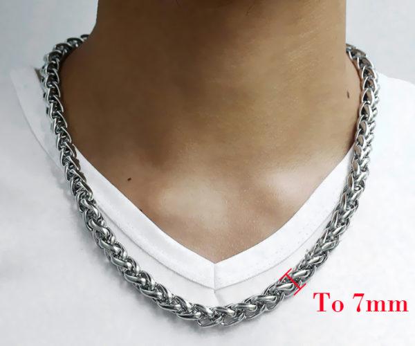 Dây chuyền nam inox bông dừa 7mm thời trang Hàn Quốc