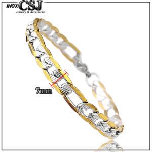 Lắc tay nam inox kiểu lặc mạ vàng cách điệu 7ly thời trang Hàn Quốc, vòng tay inox nam mạ vàng cao cấp không đen giá sỉ rẻ HCM,