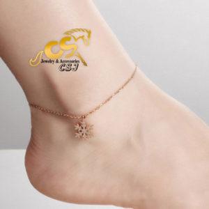 Lắc chân nữ titan hoa tuyết phun cát mạ màu vàng hồng