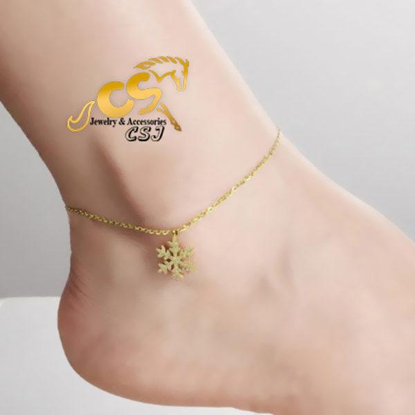 Lắc chân nữ titan hoa tuyết phun cát mạ màu vàng tươi