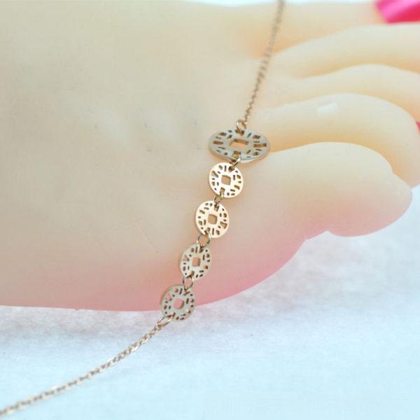 lắc chân nữ titan đồng tiền màu vàng hồng thời trang Hàn Quốc
