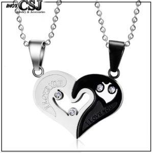 Dây chuyền cặp đôi, vòng cổ cặp inox trái tim ghép đẹp ý nghĩa không đen