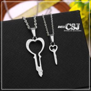 Dây chuyền inox cặp inox hình chìa khóa đôi đẹp không đen giá rẻ