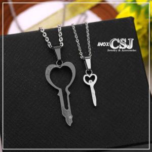 Dây chuyền cặp , vòng cổ đôi hình chia khóa đẹp inox cao cấp không đen , quà tặng đầy ý nghĩa