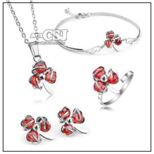 sét bộ trang sức inox 4 món hình cỏ ba lá may mắn màu đỏ