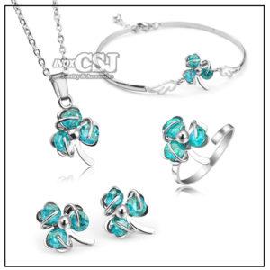 sét bộ trang sức inox 4 món hình cỏ ba lá may mắn màu xanh dương
