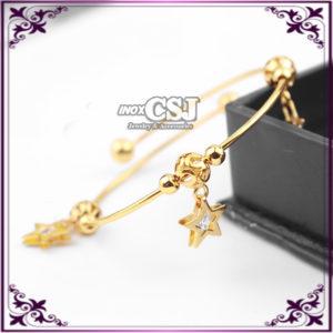 Vòng tay nữ inox mạ vàng hình ngôi sao