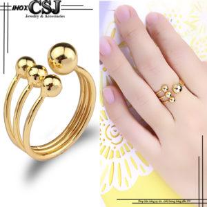 nhẫn bi inox mạ vàng free size thời trang HQ