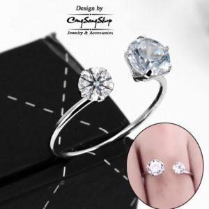 nhẫn nữ inox free size đính đá cách điệu