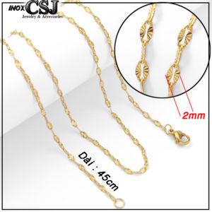 CSJ chuyên bán sỉ lẻ các mẫu dây chuyền nữ inox mạ vàng kiểu lá me chạm chiếu cực đẹp giá rẻ nhất thị trường HCM hà nội