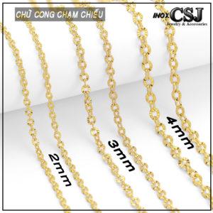 Công Sang CSJ nơi chuyên bán sỉ lẻ các kiểu mẫu dây chuyền nữ inox mạ vàng, dây chuyền nữ chữ cong inox mạ vàng chạm chiếu đẹp xinh không đen giá rẻ HCM Hà Nội