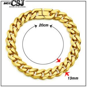 Trang sức inox nam hàn Quốc CSJ chuyên bán sỉ các mẫu lắc tay lặc đơn mạ vàng 13ly cực đẹp, vòng tay nam thời trang kiểu lặc đẹp mạ vàng sang trọng giá rẻ tại HCM