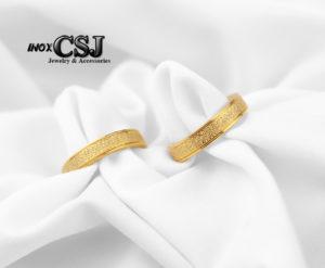 nhẫn đôi inox titan mạ vàng phun cát cao cấp, nhẫn đôi inox đẹp giá rẻ quà tặng ý nghĩa