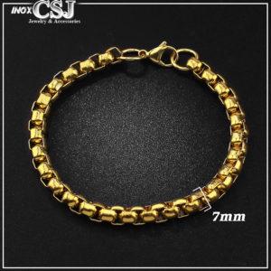 Vòng tay nam inox mạ vàng, lắc tay nam mạ vàng inox cao cấp thời trang Hàn QUốc đẹp nam tính giá rẻ