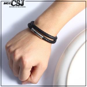 lắc tay da đen, vòng tay nam màu đen khóa inox cao cấp